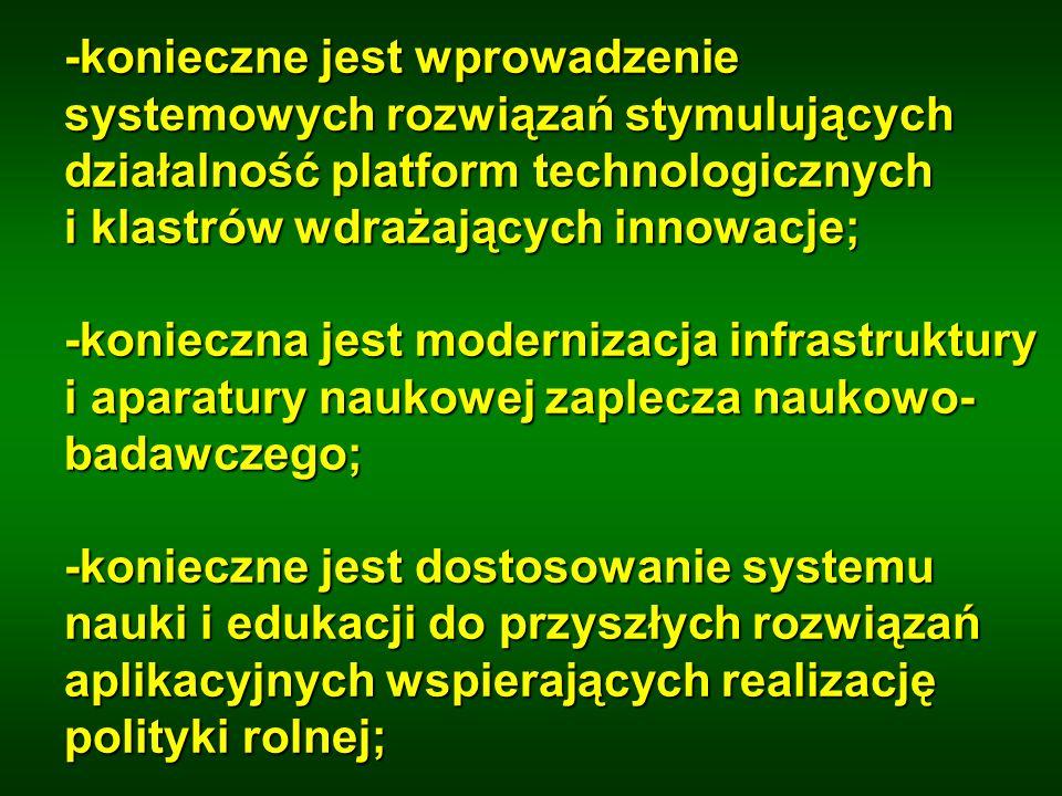 -konieczne jest wprowadzenie systemowych rozwiązań stymulujących działalność platform technologicznych i klastrów wdrażających innowacje;