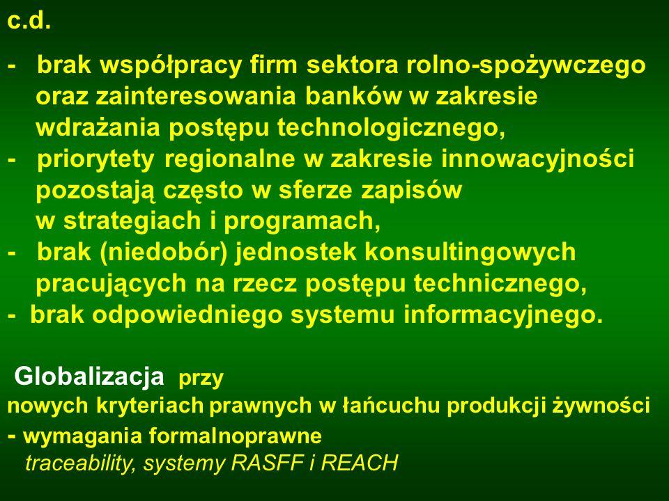 c.d. - brak współpracy firm sektora rolno-spożywczego. oraz zainteresowania banków w zakresie. wdrażania postępu technologicznego,