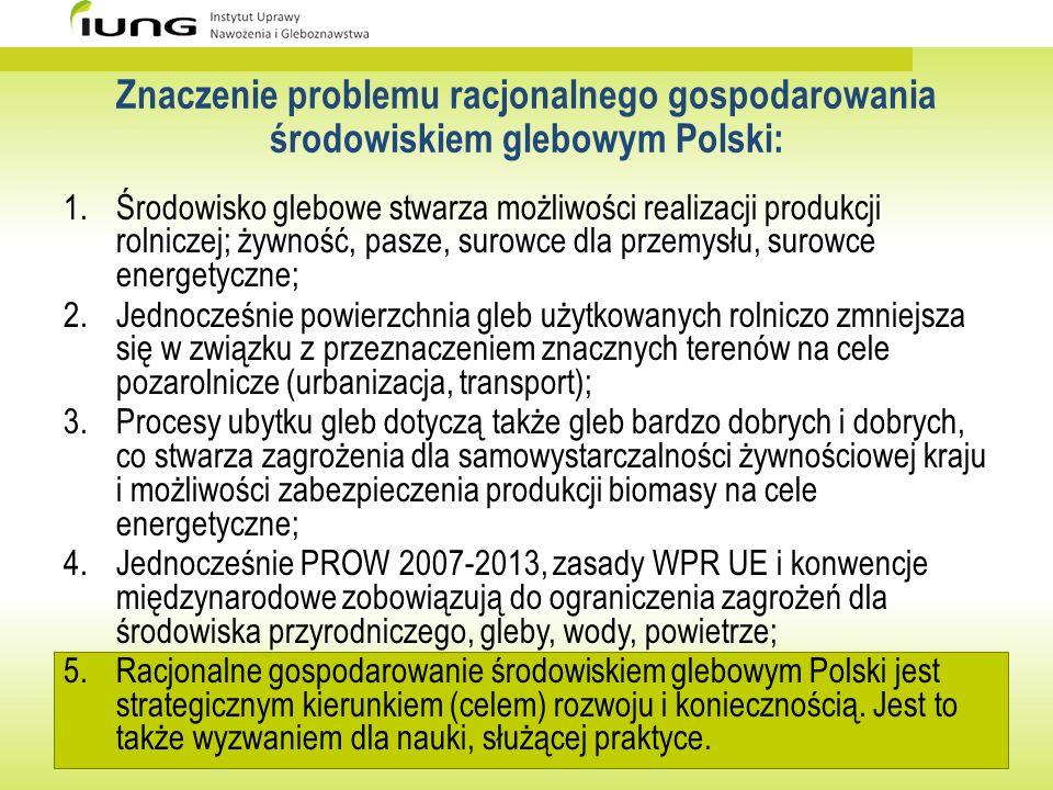 Znaczenie problemu racjonalnego gospodarowania środowiskiem glebowym Polski: