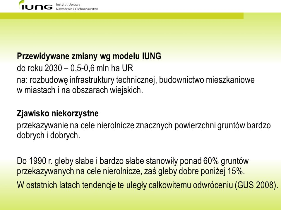 Przewidywane zmiany wg modelu IUNG
