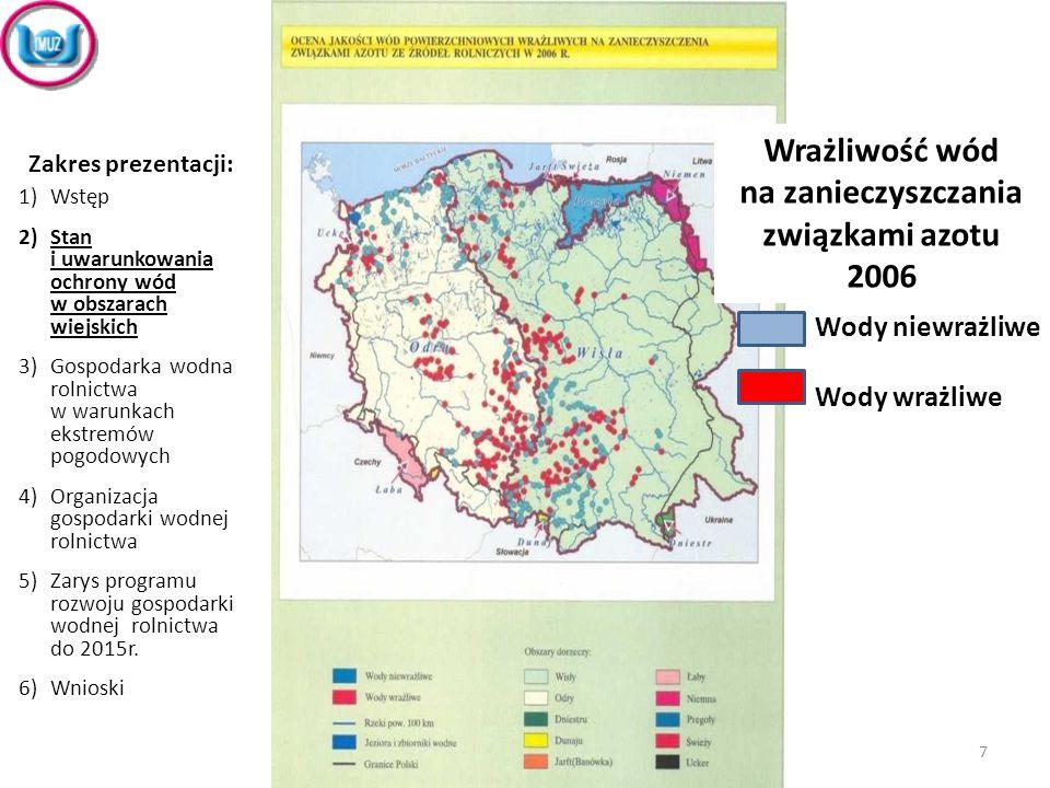 Wrażliwość wód na zanieczyszczania związkami azotu 2006