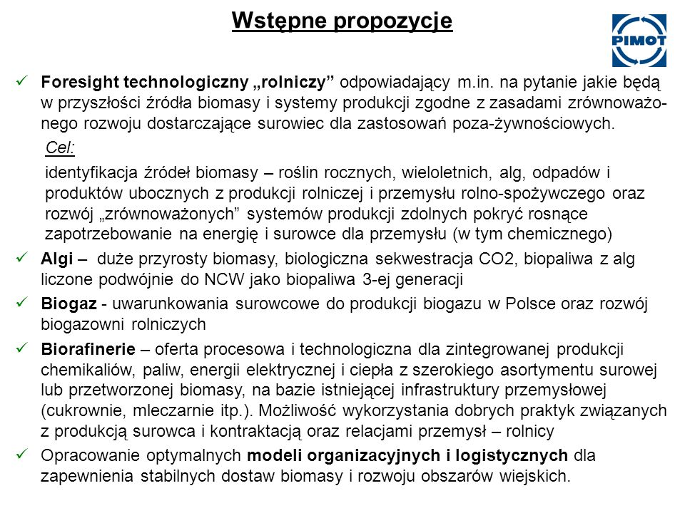 Wstępne propozycje