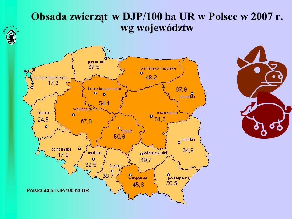 Obsada zwierząt w DJP/100 ha UR w Polsce w 2007 r. wg województw