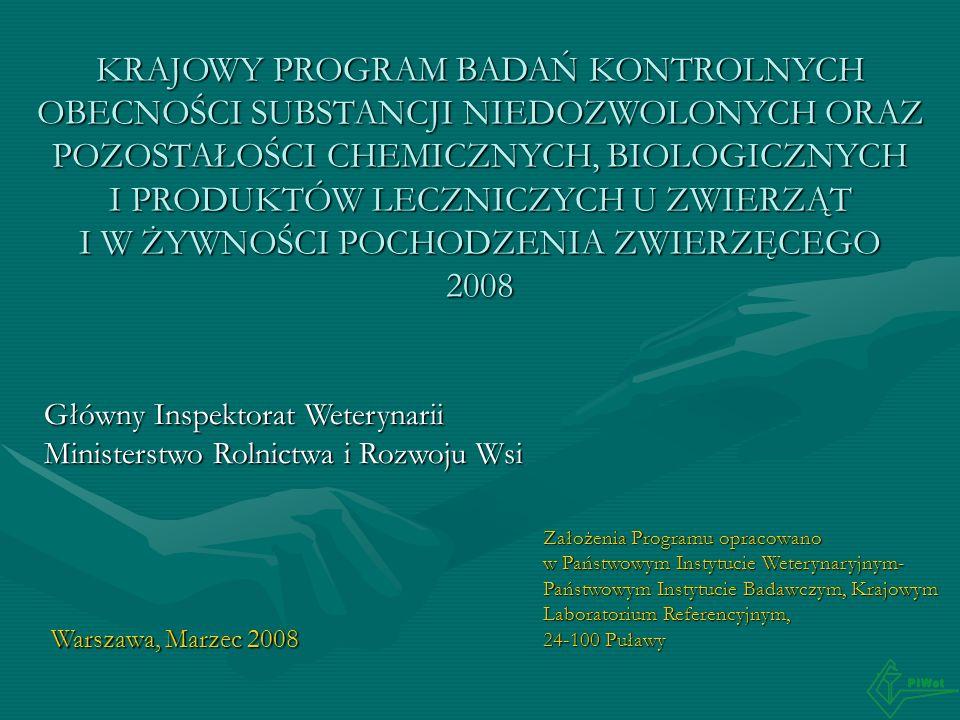 KRAJOWY PROGRAM BADAŃ KONTROLNYCH OBECNOŚCI SUBSTANCJI NIEDOZWOLONYCH ORAZ POZOSTAŁOŚCI CHEMICZNYCH, BIOLOGICZNYCH I PRODUKTÓW LECZNICZYCH U ZWIERZĄT I W ŻYWNOŚCI POCHODZENIA ZWIERZĘCEGO 2008