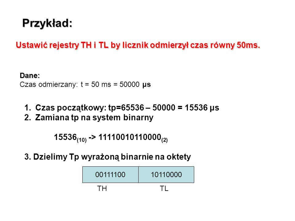 Przykład: Ustawić rejestry TH i TL by licznik odmierzył czas równy 50ms. Dane: Czas odmierzany: t = 50 ms = 50000 μs.