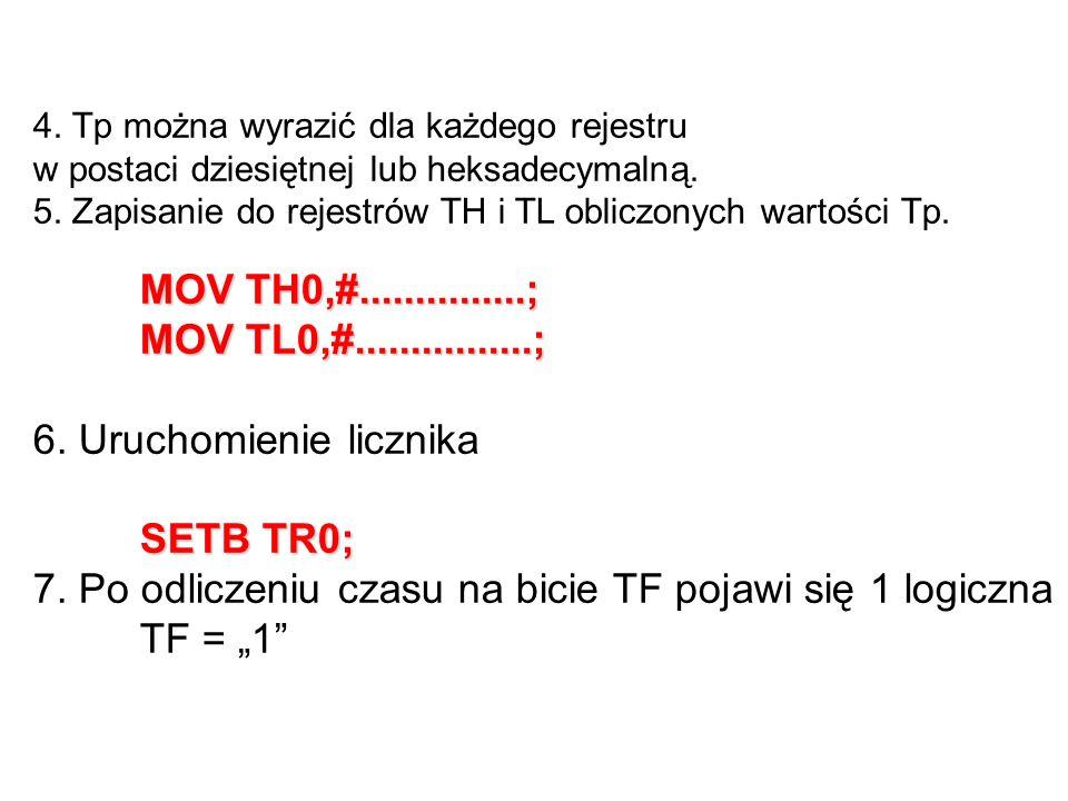 6. Uruchomienie licznika SETB TR0;