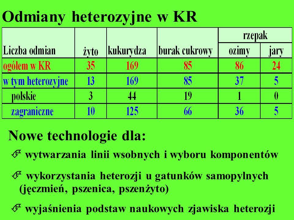 Odmiany heterozyjne w KR