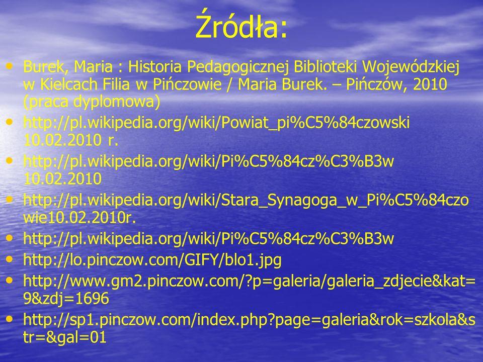 Źródła: Burek, Maria : Historia Pedagogicznej Biblioteki Wojewódzkiej w Kielcach Filia w Pińczowie / Maria Burek. – Pińczów, 2010 (praca dyplomowa)