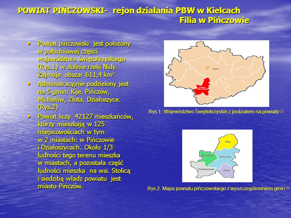 POWIAT PIŃCZOWSKI- rejon działania PBW w Kielcach Filia w Pińczowie
