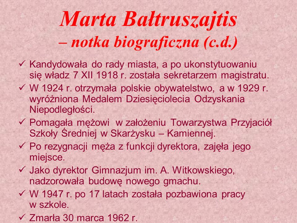 Marta Bałtruszajtis – notka biograficzna (c.d.)