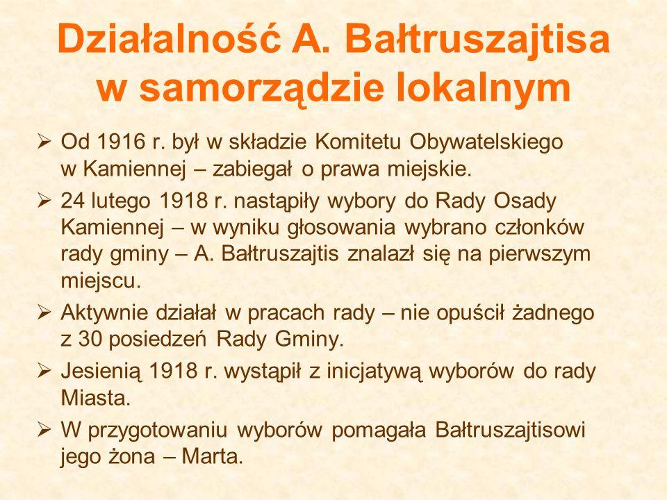 Działalność A. Bałtruszajtisa w samorządzie lokalnym