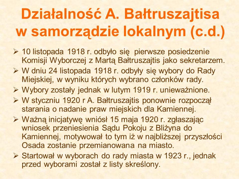 Działalność A. Bałtruszajtisa w samorządzie lokalnym (c.d.)