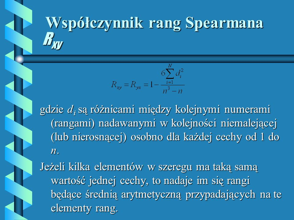 Współczynnik rang Spearmana Rxy