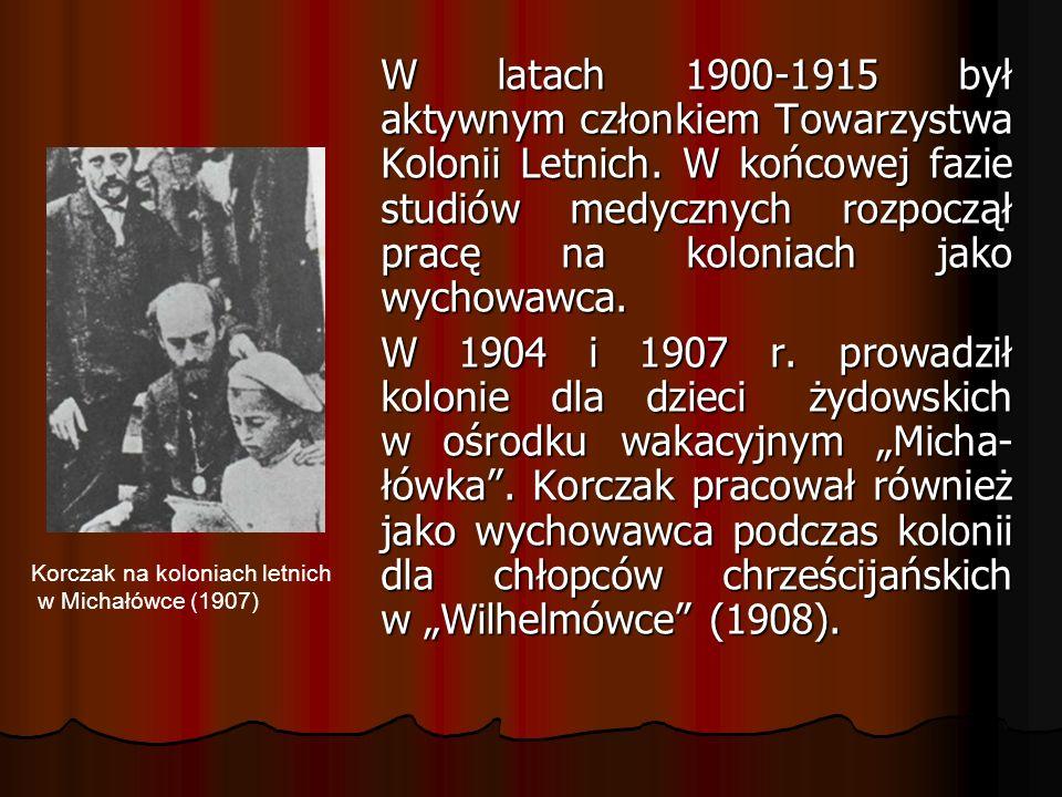 W latach 1900-1915 był aktywnym członkiem Towarzystwa Kolonii Letnich