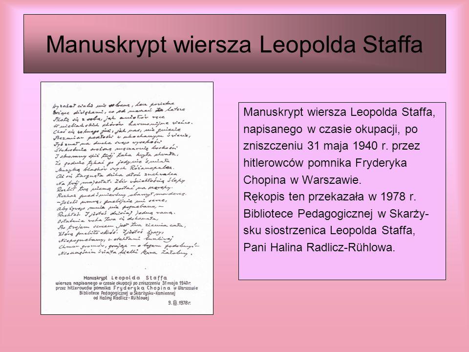 Manuskrypt wiersza Leopolda Staffa