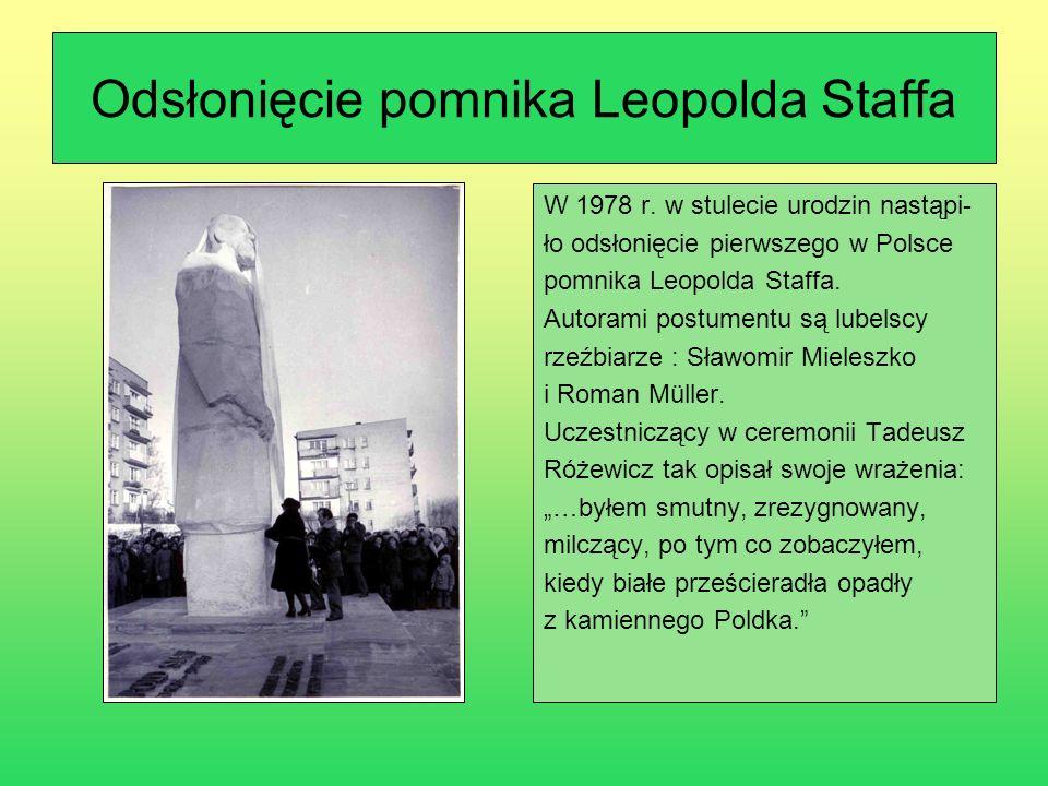 Odsłonięcie pomnika Leopolda Staffa