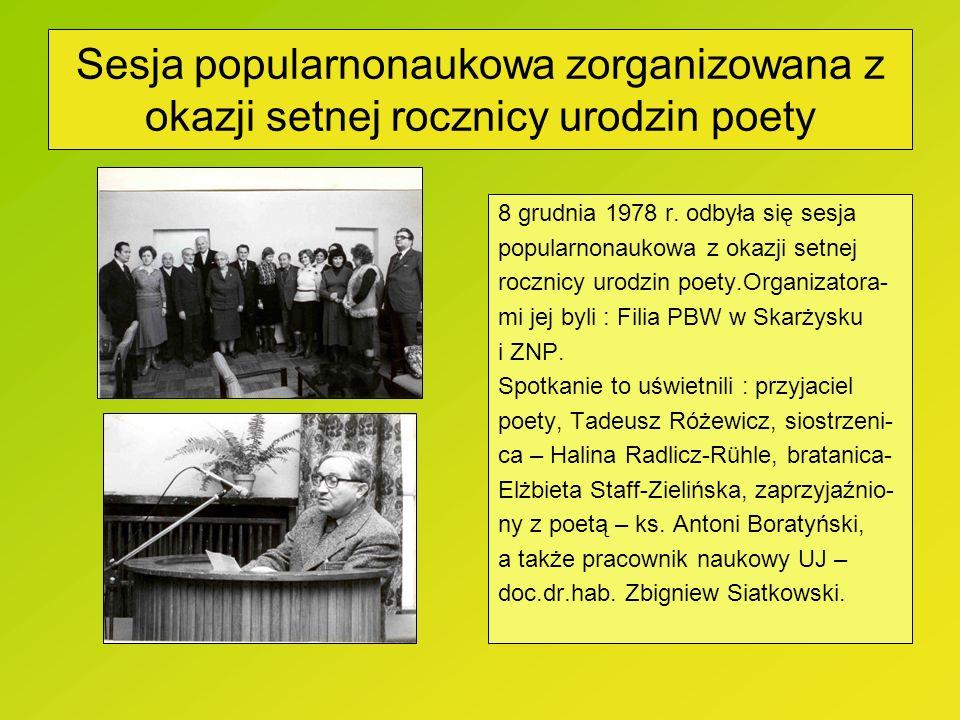 Sesja popularnonaukowa zorganizowana z okazji setnej rocznicy urodzin poety