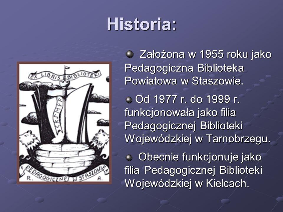 Historia: Założona w 1955 roku jako Pedagogiczna Biblioteka Powiatowa w Staszowie.