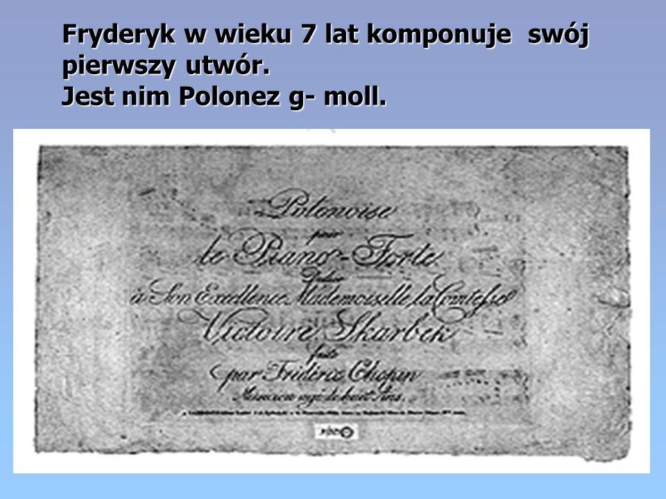 Fryderyk w wieku 7 lat komponuje swój pierwszy utwór