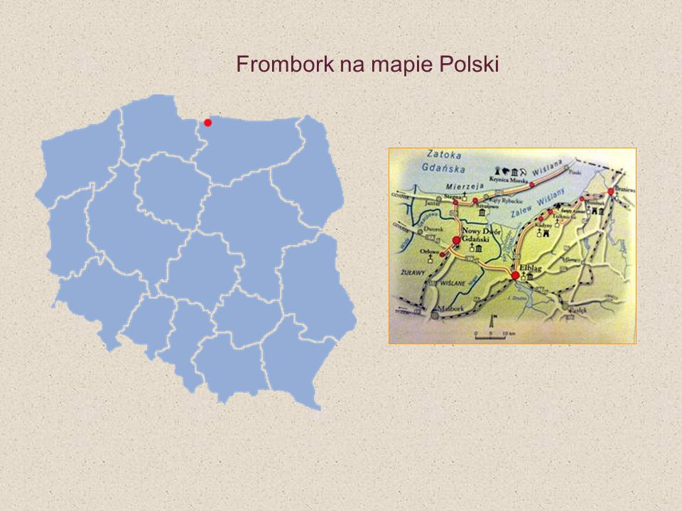 Frombork na mapie Polski