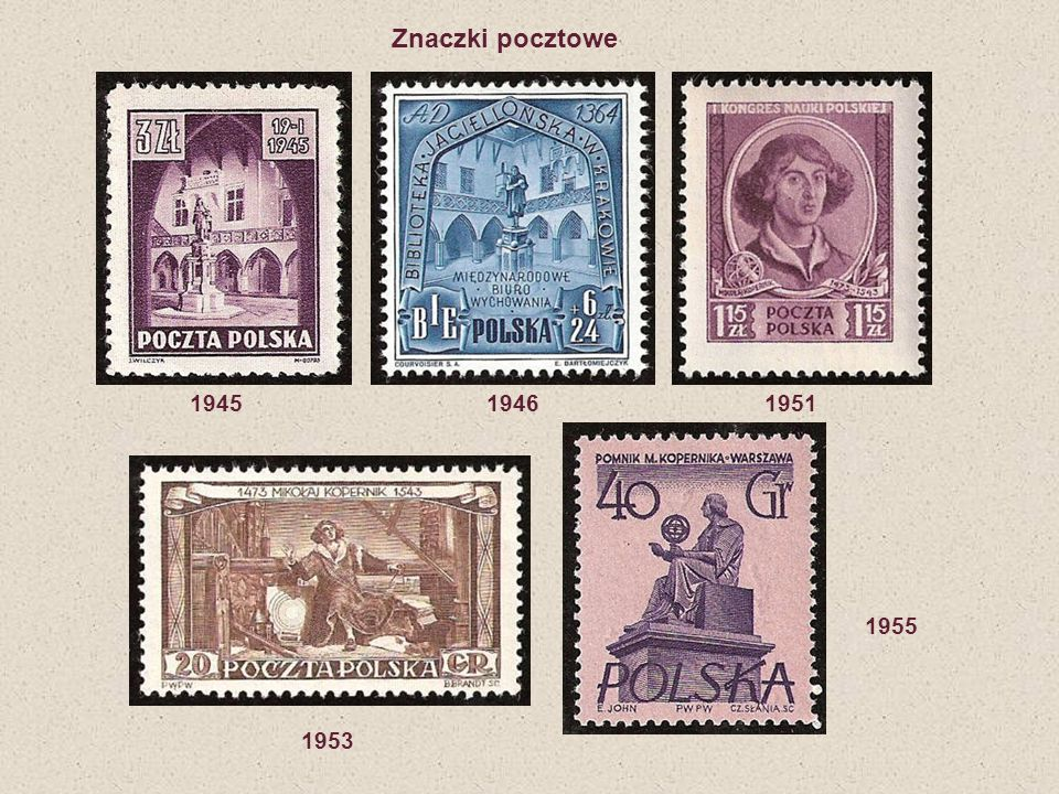Znaczki pocztowe 1945 1946 1951.