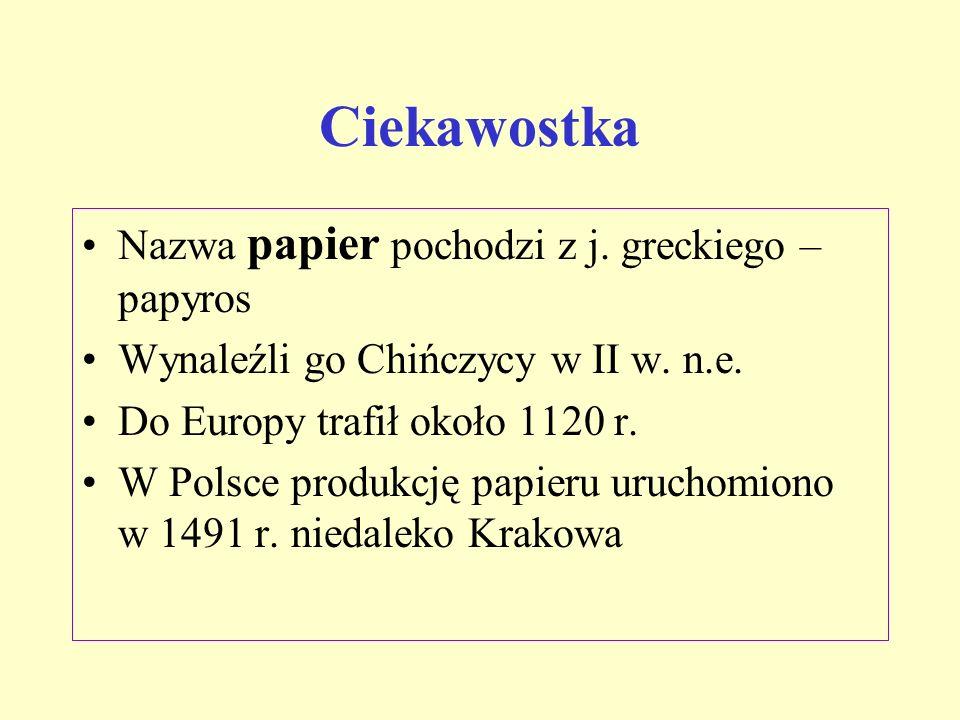Ciekawostka Nazwa papier pochodzi z j. greckiego – papyros
