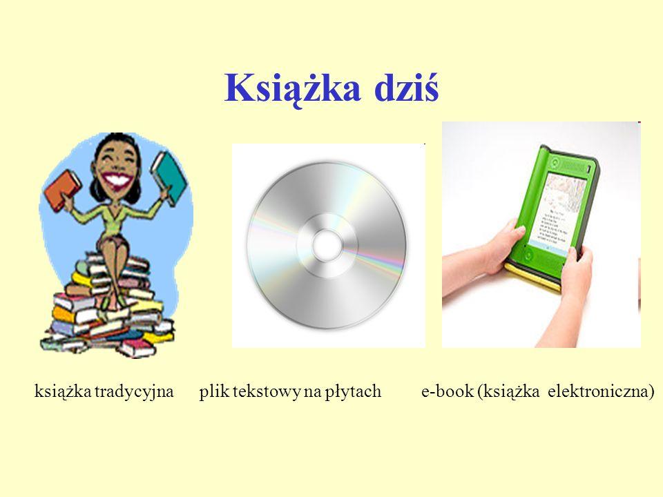 Książka dziś książka tradycyjna plik tekstowy na płytach e-book (książka elektroniczna)