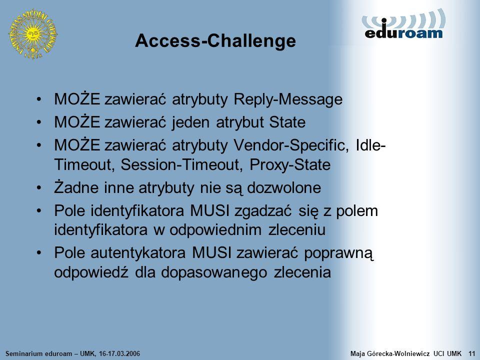 Access-Challenge MOŻE zawierać atrybuty Reply-Message