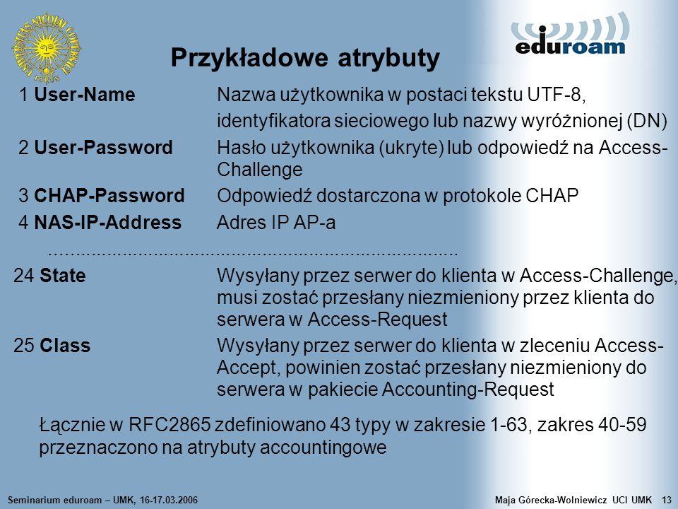 Przykładowe atrybuty 1 User-Name Nazwa użytkownika w postaci tekstu UTF-8, identyfikatora sieciowego lub nazwy wyróżnionej (DN)