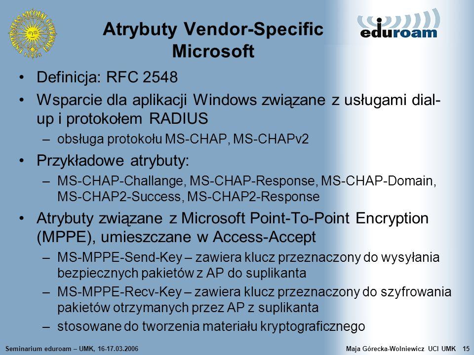 Atrybuty Vendor-Specific Microsoft