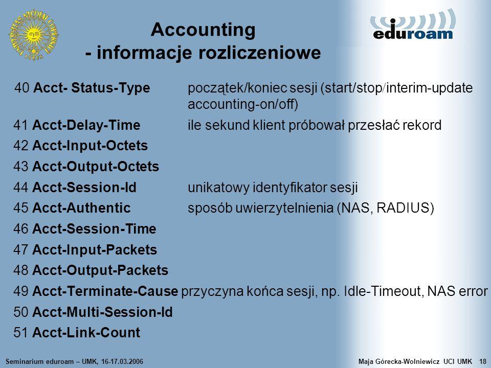 Accounting - informacje rozliczeniowe