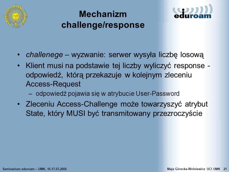 Mechanizm challenge/response
