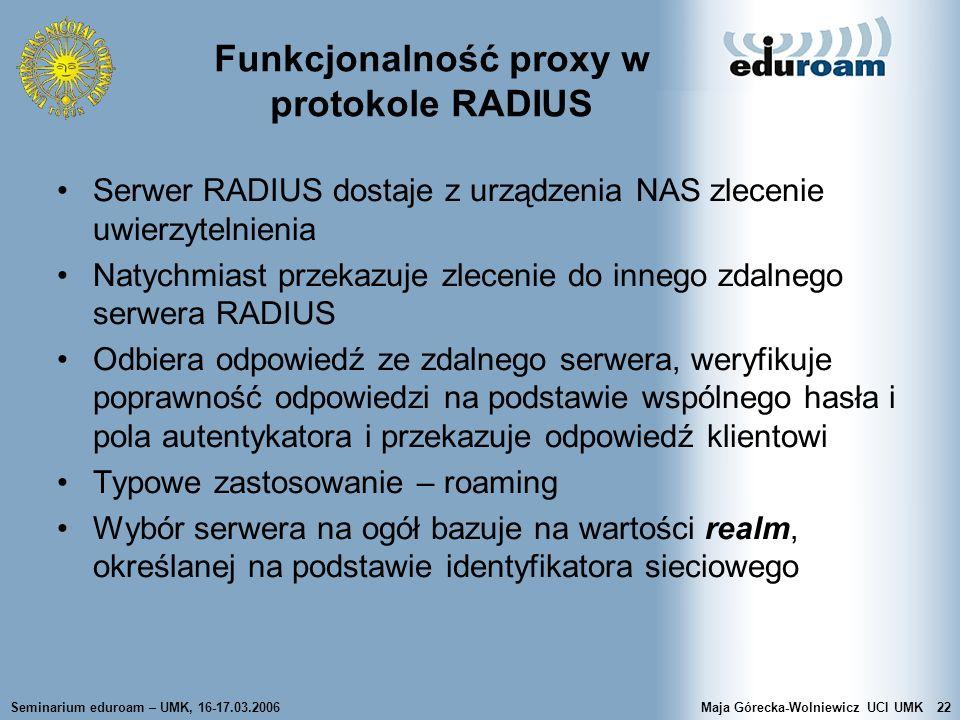 Funkcjonalność proxy w protokole RADIUS
