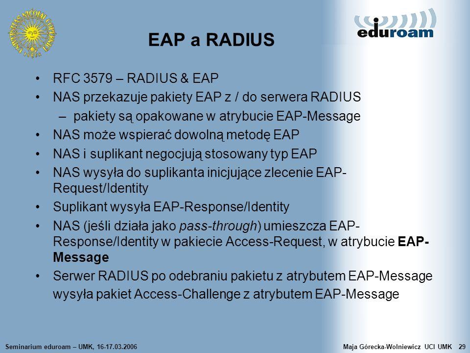 EAP a RADIUS RFC 3579 – RADIUS & EAP