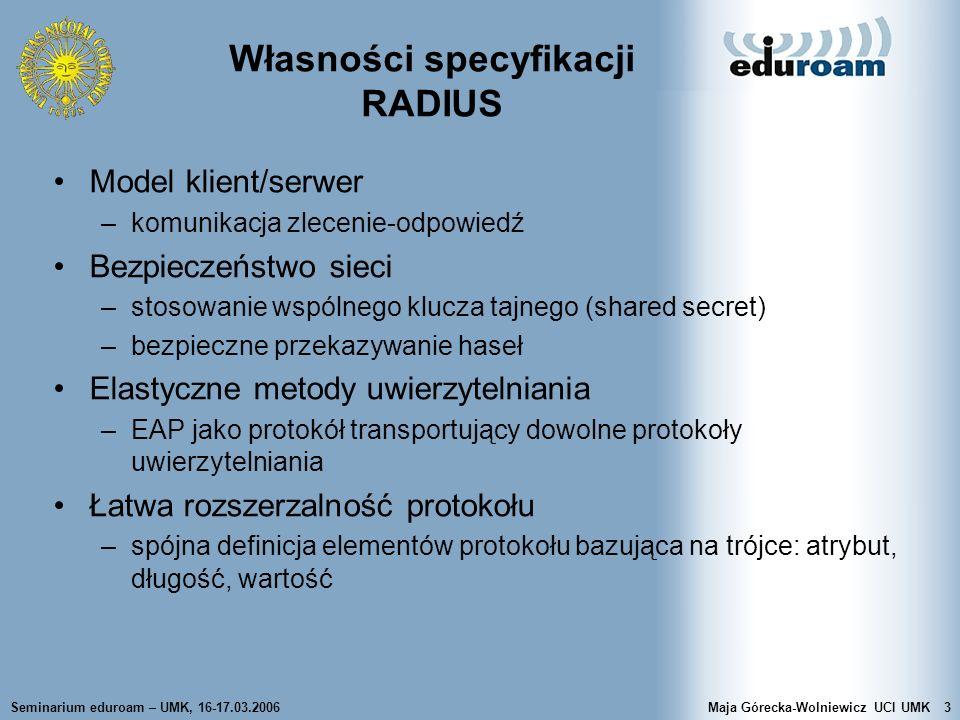 Własności specyfikacji RADIUS