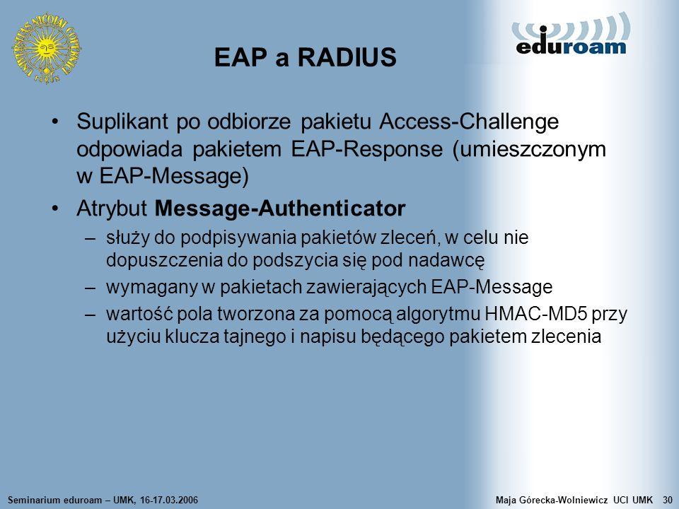 EAP a RADIUS Suplikant po odbiorze pakietu Access-Challenge odpowiada pakietem EAP-Response (umieszczonym w EAP-Message)
