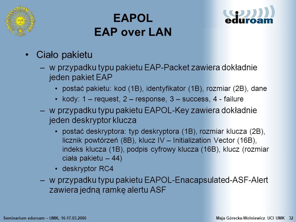 EAPOL EAP over LAN Ciało pakietu