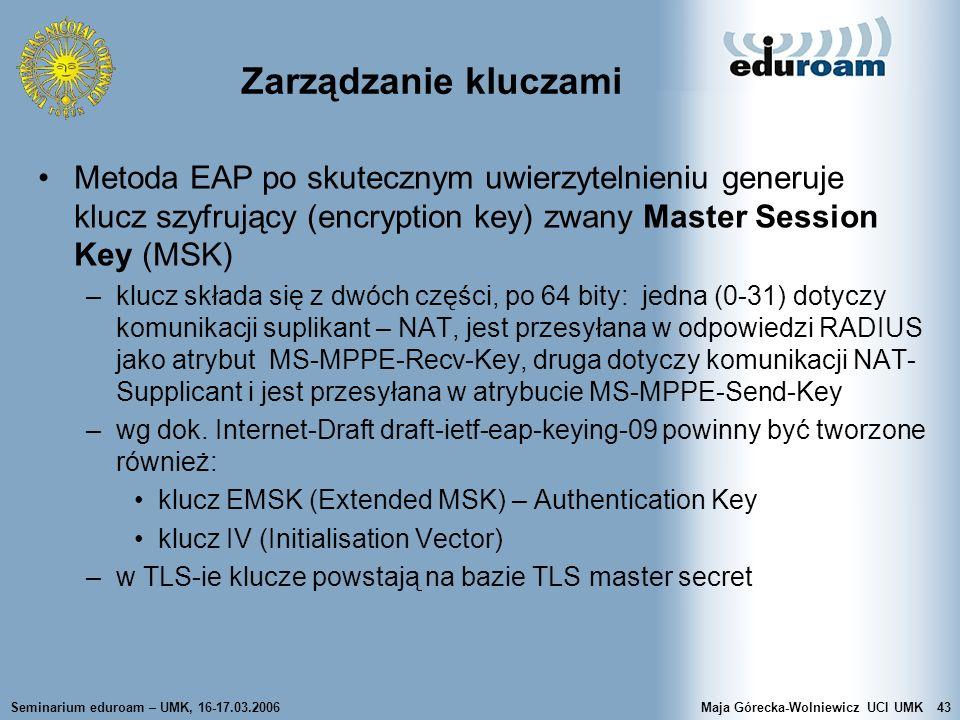 Zarządzanie kluczami Metoda EAP po skutecznym uwierzytelnieniu generuje klucz szyfrujący (encryption key) zwany Master Session Key (MSK)