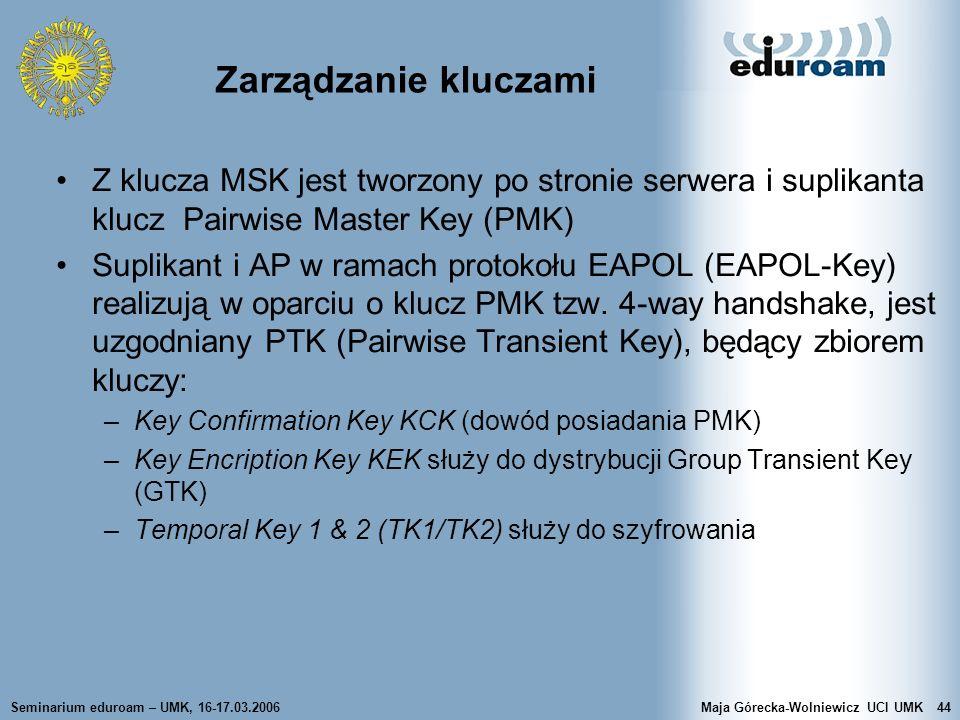 Zarządzanie kluczami Z klucza MSK jest tworzony po stronie serwera i suplikanta klucz Pairwise Master Key (PMK)