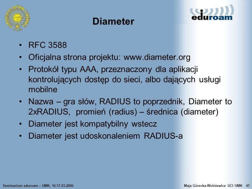 Diameter RFC 3588 Oficjalna strona projektu: www.diameter.org