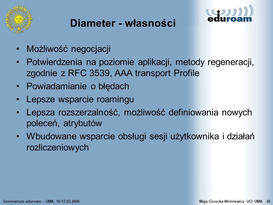 Diameter - własności Możliwość negocjacji
