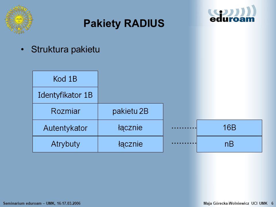 Pakiety RADIUS Struktura pakietu .......... .......... Kod 1B