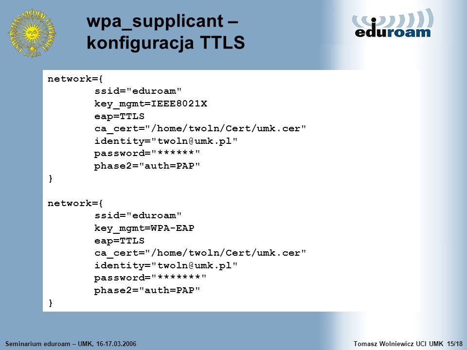 wpa_supplicant – konfiguracja TTLS