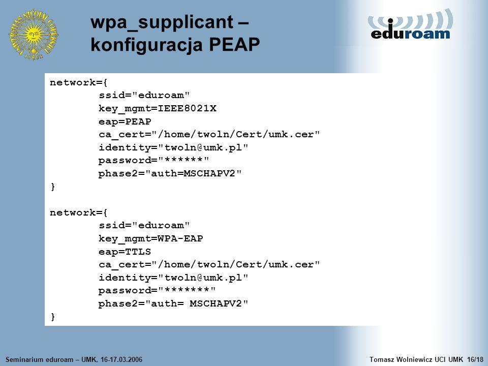 wpa_supplicant – konfiguracja PEAP