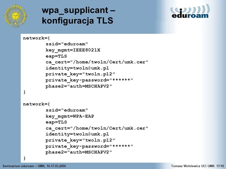 wpa_supplicant – konfiguracja TLS