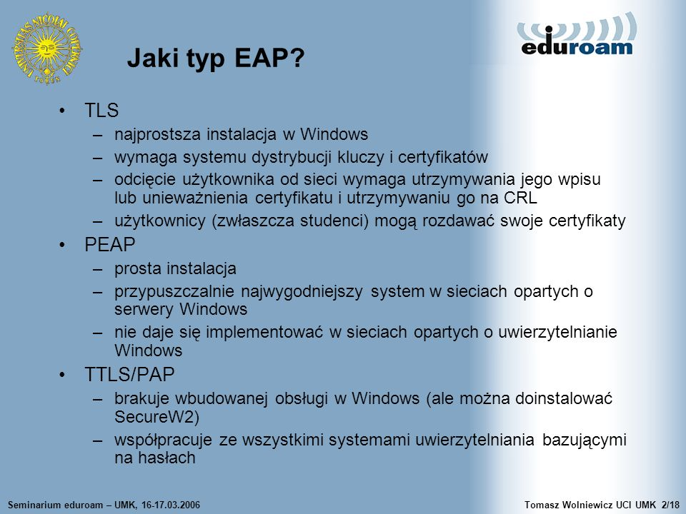 Jaki typ EAP TLS PEAP TTLS/PAP najprostsza instalacja w Windows