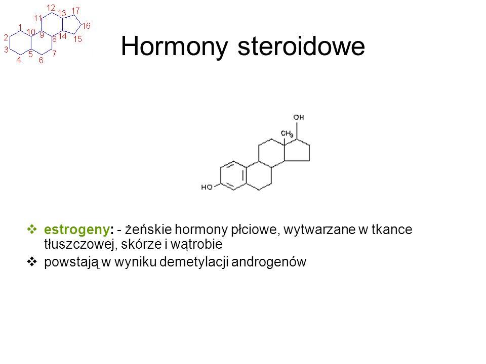Hormony steroidowe estrogeny: - żeńskie hormony płciowe, wytwarzane w tkance tłuszczowej, skórze i wątrobie.