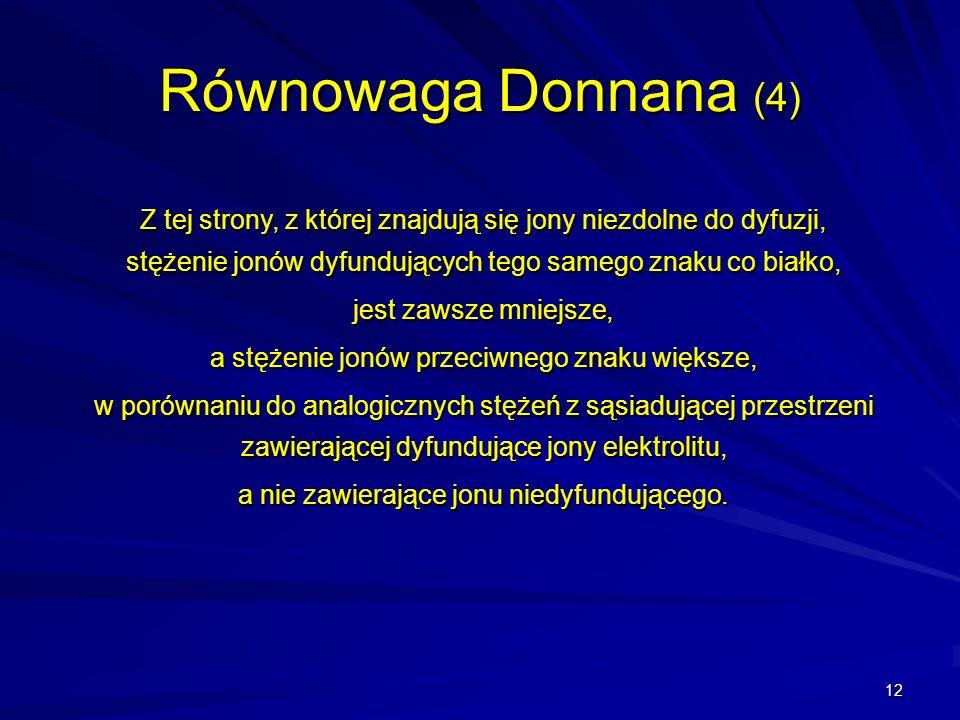 Równowaga Donnana (4)Z tej strony, z której znajdują się jony niezdolne do dyfuzji, stężenie jonów dyfundujących tego samego znaku co białko,