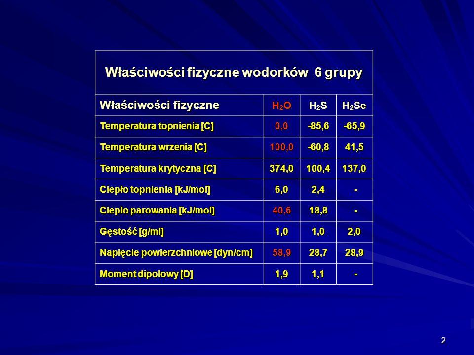 Właściwości fizyczne wodorków 6 grupy