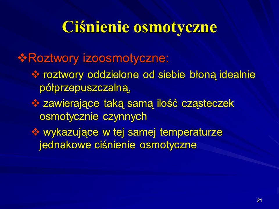 Ciśnienie osmotyczne Roztwory izoosmotyczne: